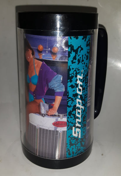 "1991 May June Thermo Serv Snap On Tools Tammi Calendar Girl 6 1/2"" Tall Plastic Beer Mug Cup - Edge Chipped"