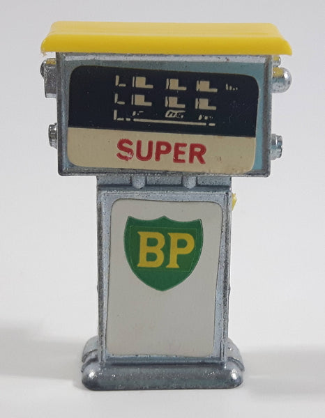 Vintage 1960s Corgi or Dinky Style British Petroleum BP Super Yellow Topped Miniature Die Cast Metal Gasoline Gas Pump Gas Station Toy - No Hose