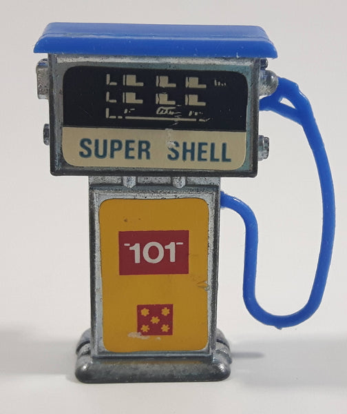 Vintage 1960s Corgi or Dinky Style Super Shell 101 Blue Topped Miniature Die Cast Metal Gasoline Gas Pump Gas Station Toy