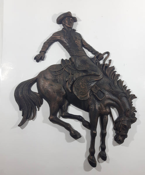Vintage 1974 Homco Cowboy Riding Bucking Horse Hard Plastic Decorative Western Wall Hanging