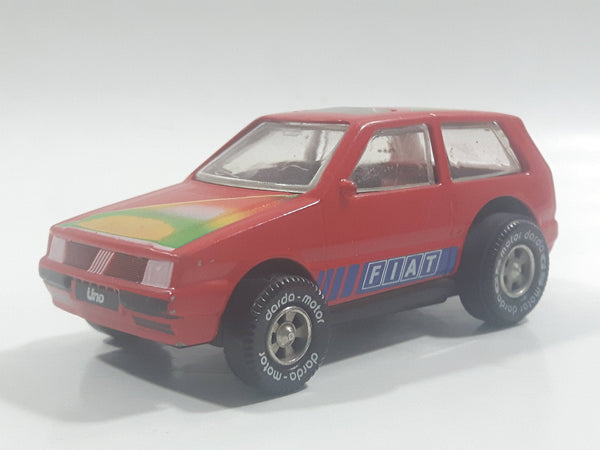 Rare Darda Motors Fiat Uno 10 Red Die Cast Toy Car Friction Motorized Pullback Vehicle
