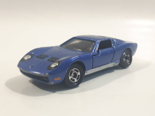 Vintage 1977 Tomy Tomica No. 5 Lamborghini Miura SV Dark Blue 1/62 Scale Die Cast Toy Car Vehicle with Opening Doors