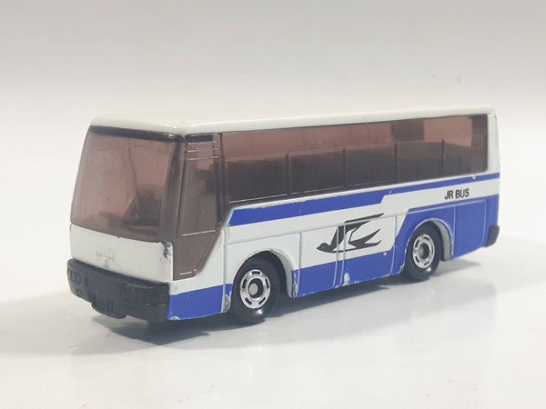 "1988 Tomy Tomica No. 41 Isuzu Super Hi-Decker Bus ""Jr Bus"" White and Blue 1/145 Scale Die Cast Toy Car Vehicle"