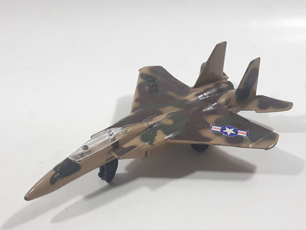 1990s Zee Toys Zylmex Dyna Flites A211 F-15 Fighter Jet Airplane Camouflage Brown Die Cast Toy Car Vehicle