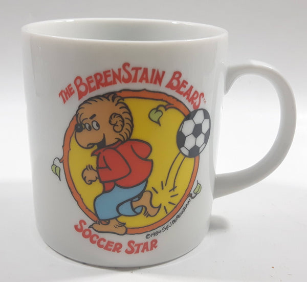 Vintage 1984 S. J. Berenstain The BerenStain Brother Bear Soccer Star White Ceramic Coffee Mug Children's Book Character Literature Collectible