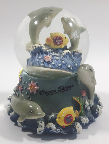 "Ocean Shores, Washington 3D Dolphin Themed 3 1/2"" Miniature Snow Globe - Tilted"