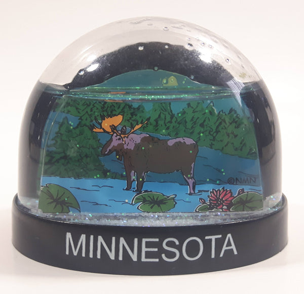 "Minnesota Moose Themed 2 1/4"" Miniature Plastic Snow Globe"