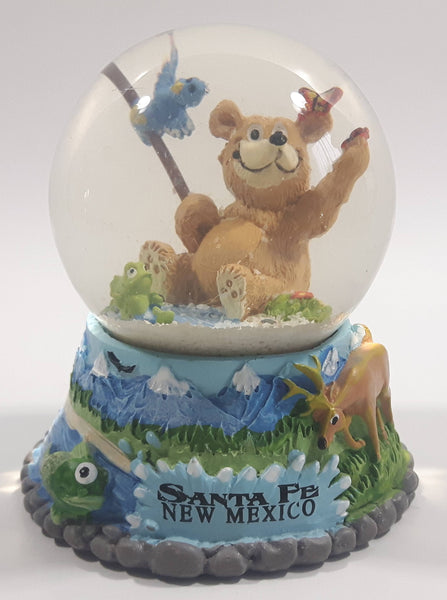 "Santa Fe, New Mexico Bear Fish Deer Butterfly Mountain Themed 3 1/2"" Snow Globe"
