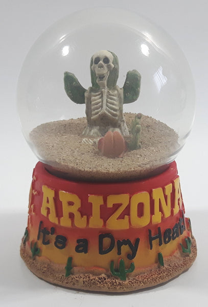 "Arizona It's A Dry Heat! Skeleton Cactus Desert Themed 3 1/2"" Sand Filled Snow Globe"