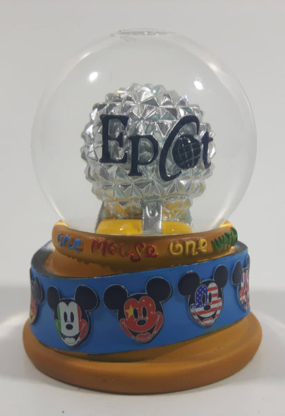 "Disney Parks Authentic Original Epcot One Mouse One World 2 1/2"" Miniature Snow Globe"