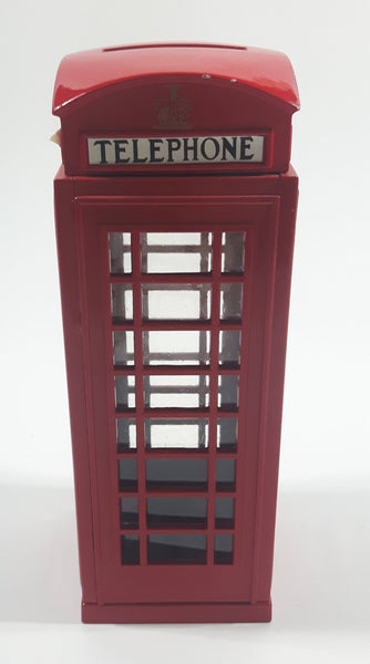 1998 Zelox British London, England Red Metal Phone Box Telephone Booth Coin Bank