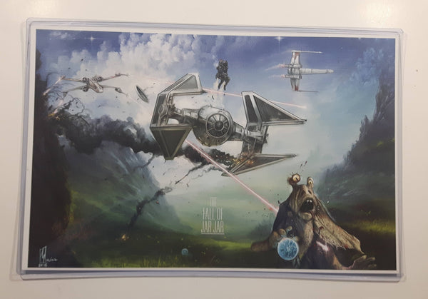 "2015 Star Wars The Fall Of Jar Jar! 11 1/2"" x 17 1/2"" Art Sketch Print by Shane Molina in Plastic Protector"