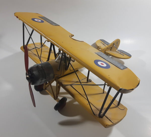 Vintage Style Avro Tutor Type 621 K3215 Yellow Bi-Plane Large Tin Metal Interwar Training Military Airplane