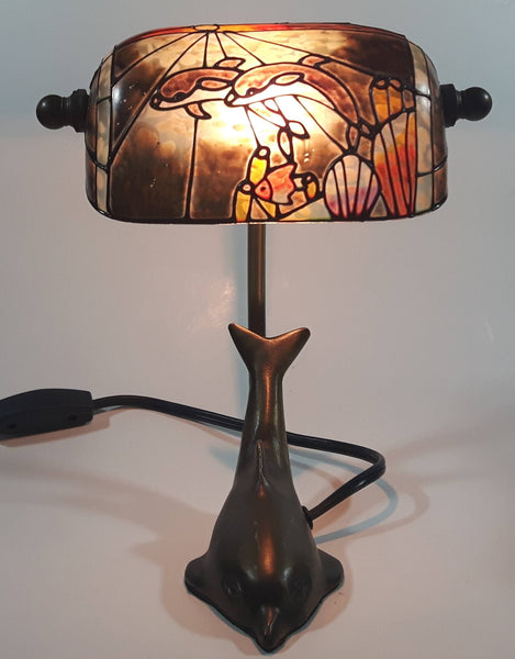 "Beautiful Tiffany Style Dolphin Themed Stained Glass and Brass Dolphin Base Banker's Table Lamp Light 9 1/2"" Tall"