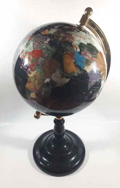 "Beautiful 17"" Tall Black with Mother of Pearl and Semi-Precious Gems Gemstones Earth World Map Rotating Globe"