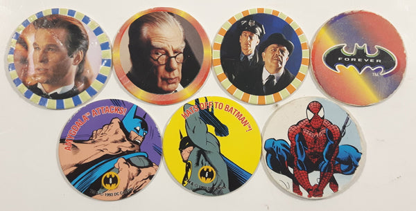 1990s Mixed Batman Forever, SkyCaps, Spider-Man Pogs / Caps Lot of 7