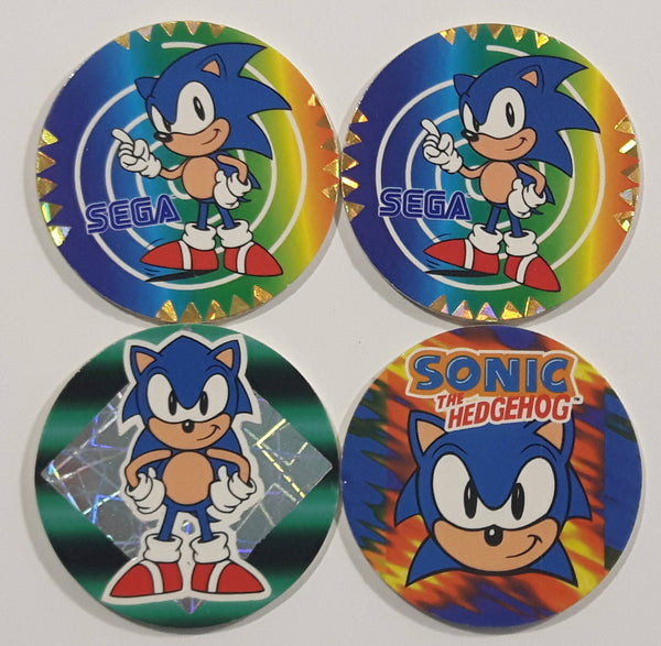 1995 SEGA Sonic The Hedgehog Video Game Character Pog / Cap Lot of 4