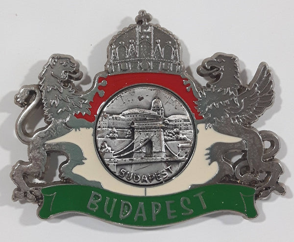 Budapest, Hungary Red White Green Metal Enamel Fridge Magnet