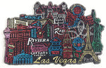 Las Vegas Casinos and Landmarks Detailed Rubber Fridge Magnet