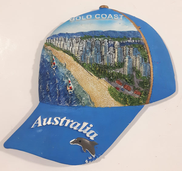 Australia Gold Coast Blue Ball Cap Hat Shaped Resin Fridge Magnet