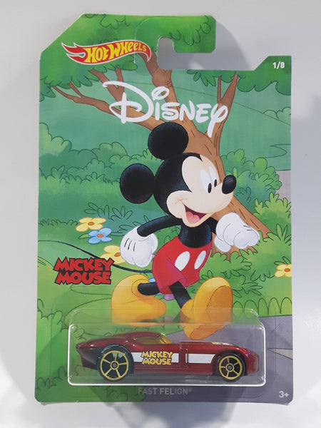 2018 Hot Wheels Disney Mickey & Friends Mickey Mouse Fast Felion Dark Red Die Cast Toy Car Vehicle - New in Package Sealed