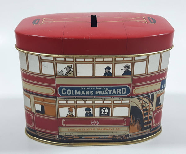 Vintage London Electric Tramways Co. Insist on having Colmans Mustard & Jacob's Cream Crackers Tin Metal Coin Bank