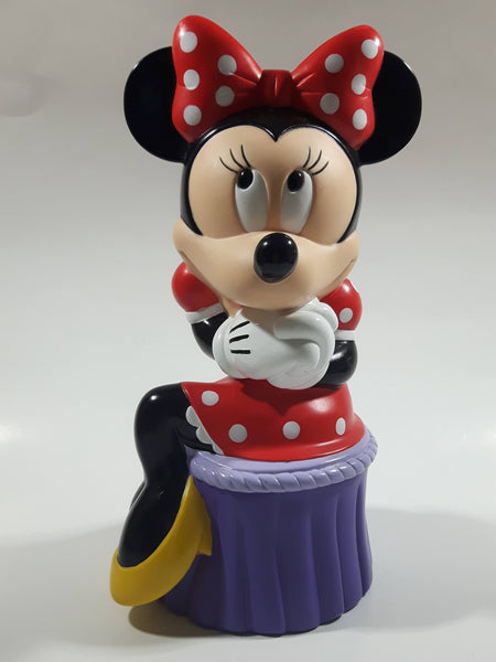 "Disney Applause Minnie Mouse Sitting on Purple Stool 9 1/2"" Tall Hard Vinyl Coin Bank"