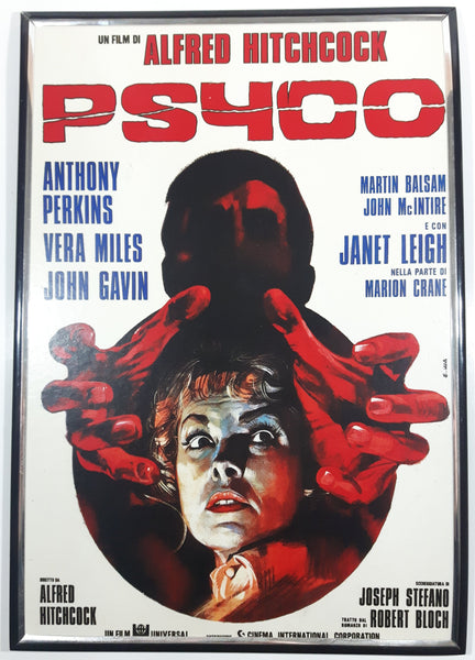 "Vintage Un Film di Alfred Hitchcock Psyco (1960) 11 1/2"" x 16 1/2"" Framed Hardboard Film Movie Poster Advertisement (French)"