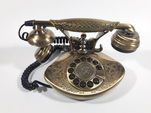 Nexxtech Vintage Style 1935 Reproduction Paramount Collection Classic Series Ornate Brass Fancy Push Button Telephone