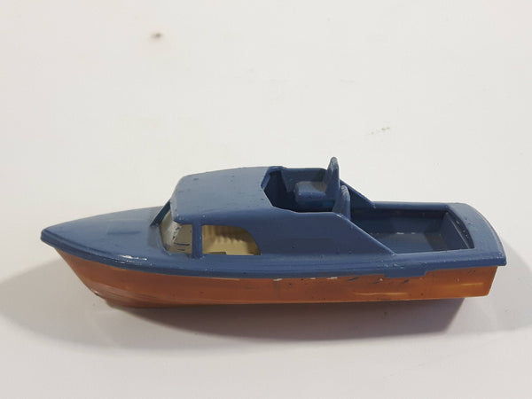 Unknown Brand Fishing Boat Painted Blue and Brown Plastic Toy Watercraft