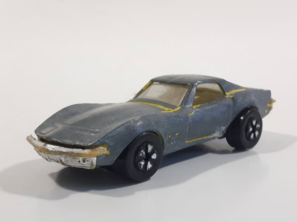 Vintage PlayArt Corvette Sting Ray Yellow Bare Metal Die Cast Toy Car Vehicle - Made in Hong Kong