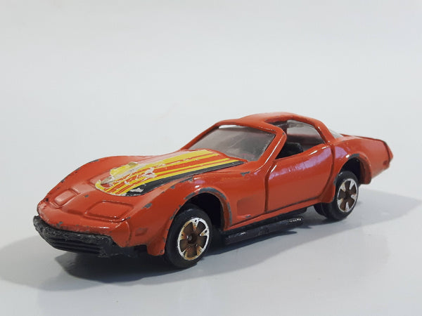 Vintage 1970s Uniborn Corvette T-Roof Orange Die Cast Toy Car Vehicle - Made in Hong Kong