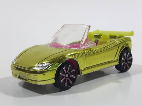 Mattel Polly Pocket Convertible Lime Yellow and Pink Plastic Body Die Cast Toy Car Vehicle L4357