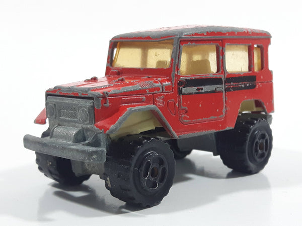 Majorette No. 277 Toyota 4x4 Red 1/53 Scale Die Cast Toy Car Vehicle with Opening Rear Window - Missing Rear Window