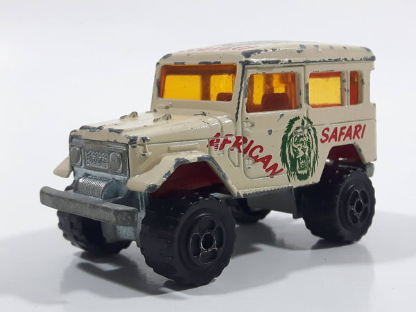 Majorette No. 277 Toyota 4x4 African Safari Cream White 1/53 Scale Die Cast Toy Car Vehicle with Opening Rear Window
