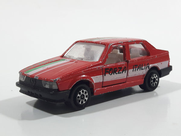 Majorette Alfa 75 Red No. 271 Forza Italia Die Cast Toy Car Vehicle with Opening Doors 1/55 Scale
