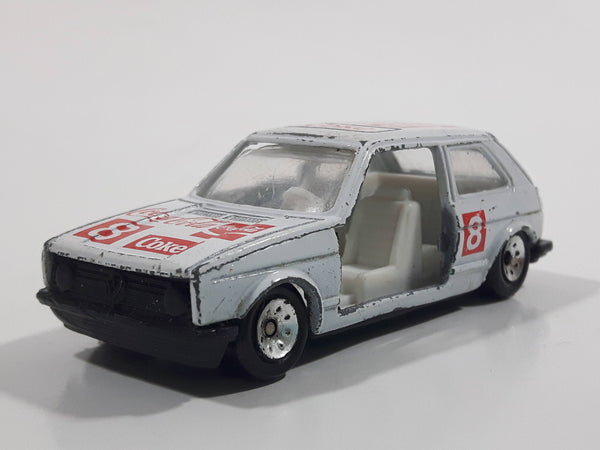 1988 Hartoy Coca Cola Coke Soda Pop VW Volkswagen Golf GTI White Red Die Cast Toy Car Vehicle with Opening Doors - Missing a Door