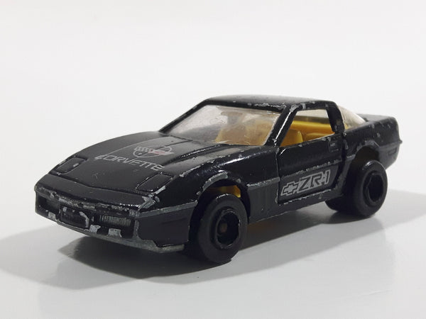 Vintage Majorette Chevrolet Corvette ZR-1 No. 215 & 268 Black Die Cast Toy Car Vehicle Opening Doors 1/57 Scale Made in France