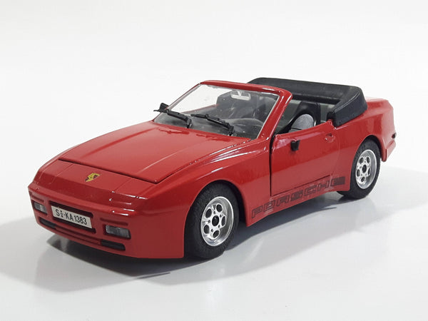 Majorette Porsche 944 Turbo Convertible 1:24 Scale Red Die Cast Toy Car Vehicle with Opening Doors and Hood