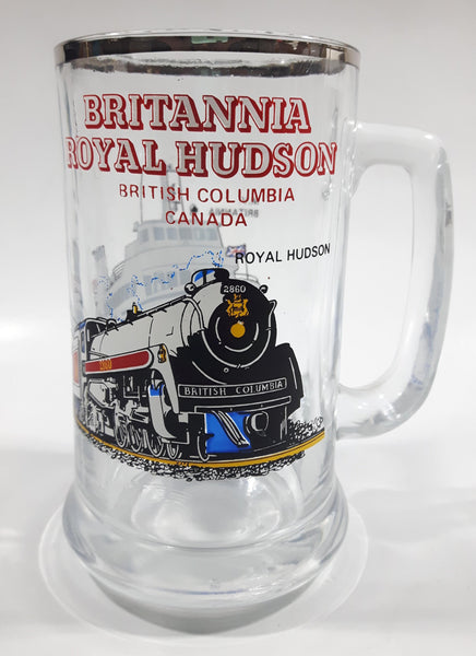"Vintage Britannia Royal Hudson 2860 Train Locomotive M.V. Britannia Harbour Ferries 5 1/2"" Tall Glass Beer Mug Cup"