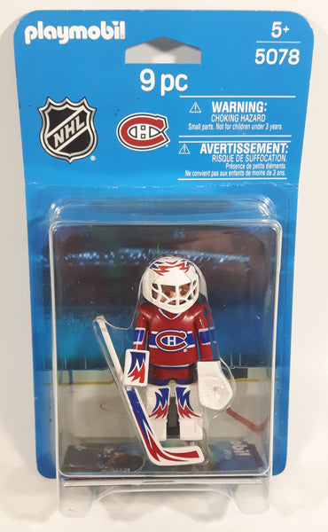 2014 Geobra Playmobil 5078 NHL Ice Hockey Montreal Canadiens Goalie Player Toy Figurine 9 pc New in Package