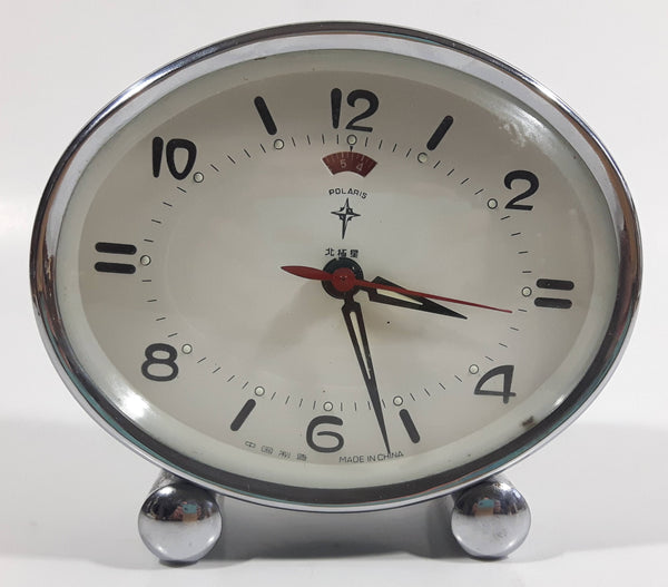 Vintage 1960s Polaris Grey Oval Shaped Windup Alarm Clock