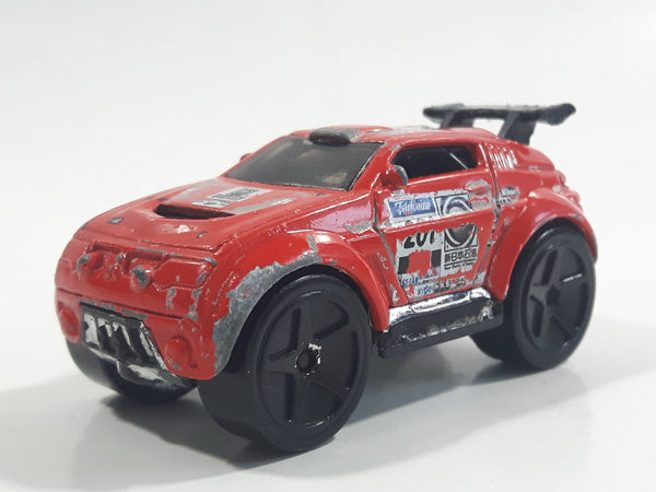 2004 Hot Wheels First Editions Tooned Mitsubishi Pajero Red Die Cast Toy Car Vehicle