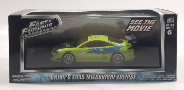 2015 Greenlight Hollywood Limited Edition Fast & Furious Movie Brian's 1995 Mitsubishi Eclipse Lime Green 1:43 Scale Die Cast Toy Car Vehicle In Box