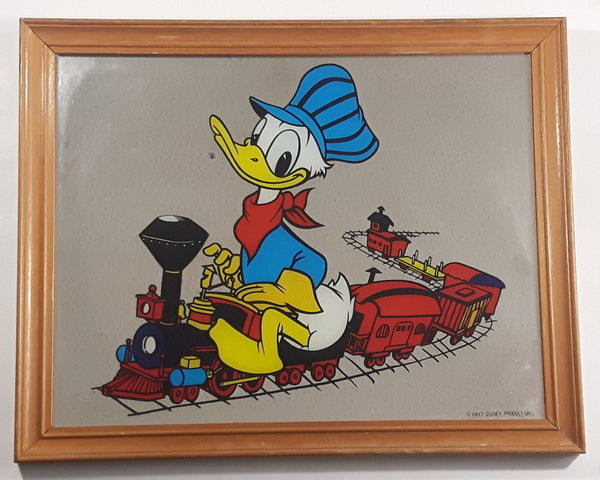 Disney Mickey Mouse and Friends Playing Hockey Donald Duck Goofy Wood Framed With Glass Collectible Art Picture Print