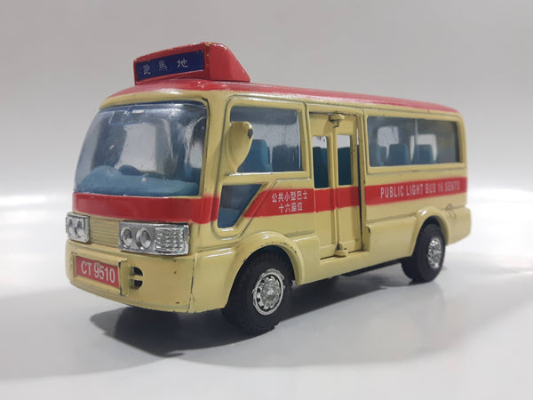 1999 Tsuen Wan No. 8 Toyota Coaster Public Light Bus 16 Seats Cream and Red Pullback Motorized Friction Die Cast Toy Car Vehicle with Opening Doors