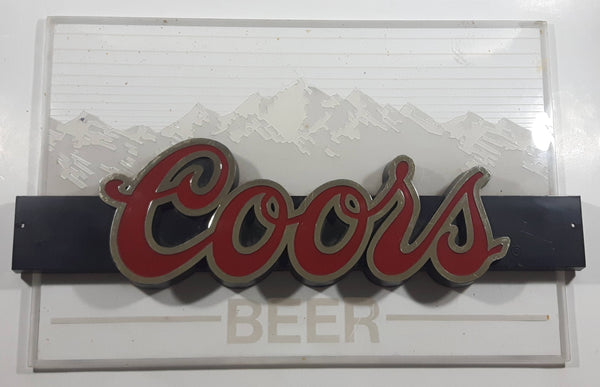 "Coors Beer Mountain Themed Clear Acrylic Backing Wall Sign 11 1/2"" x 18"""