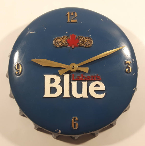 Rare Vintage Style Labatt's Blue 3D Bottle Cap Shaped Clock