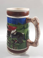 "Vintage Horse Jumping Racing Large Embossed Ceramic Pottery Beer Stein 7 3/8"" Tall - Cracks"
