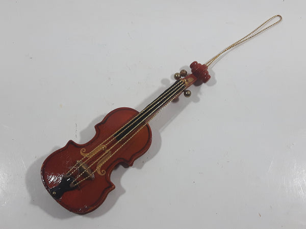 "Miniature 5"" Long Wood Violin Instrument Hanging Tree Ornament"
